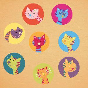 Vinilo infantil gatitos de colores