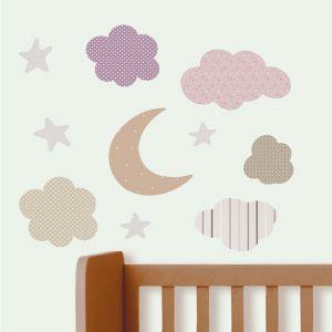 Vinilo de luna, estrellas y nubes 2