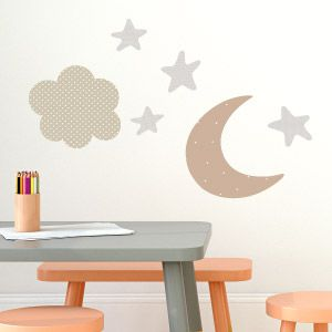 Vinilo de luna, estrellas y nube