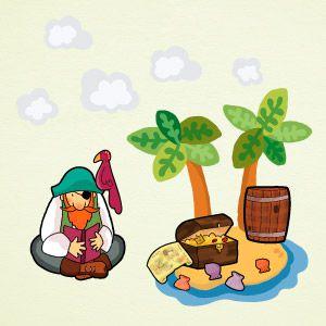 Vinilo pirata en la isla del tesoro