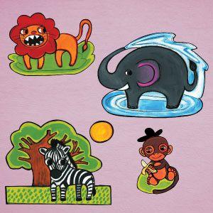 Vinilo león, mono, jirafa, elefante