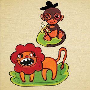 Vinilo león y mono