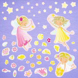 Vinilo hadas, flores y estrellas 3