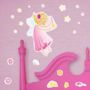 Vinilo hada rosa con estrellas
