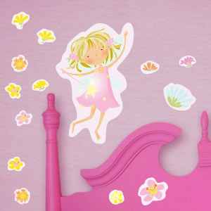 Vinilo hada rosa con flores