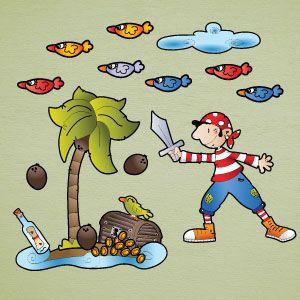 Vinilo infantil pirata niño en isla