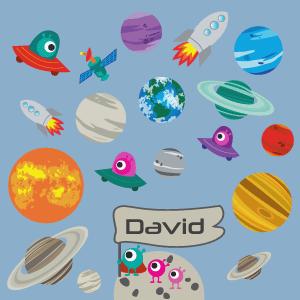 Vinilo infantil planetas y cohetes personalizable