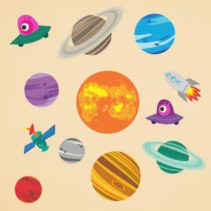 Vinilo infantil planetas y cohete