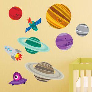 Vinilo infantil planetas y cohete 2