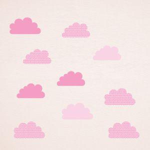 Vinilo de nubes rosas con estrellas